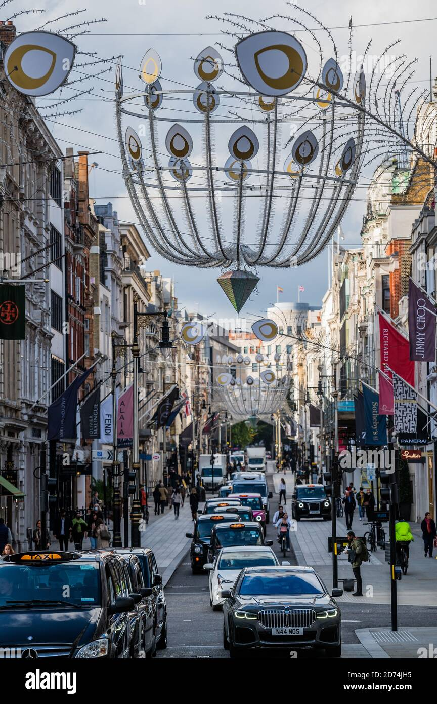London, UK. 20th Oct, 2020. Christmas decorations are now up in New Bond Street. Credit: Guy Bell/Alamy Live News Stock Photo
