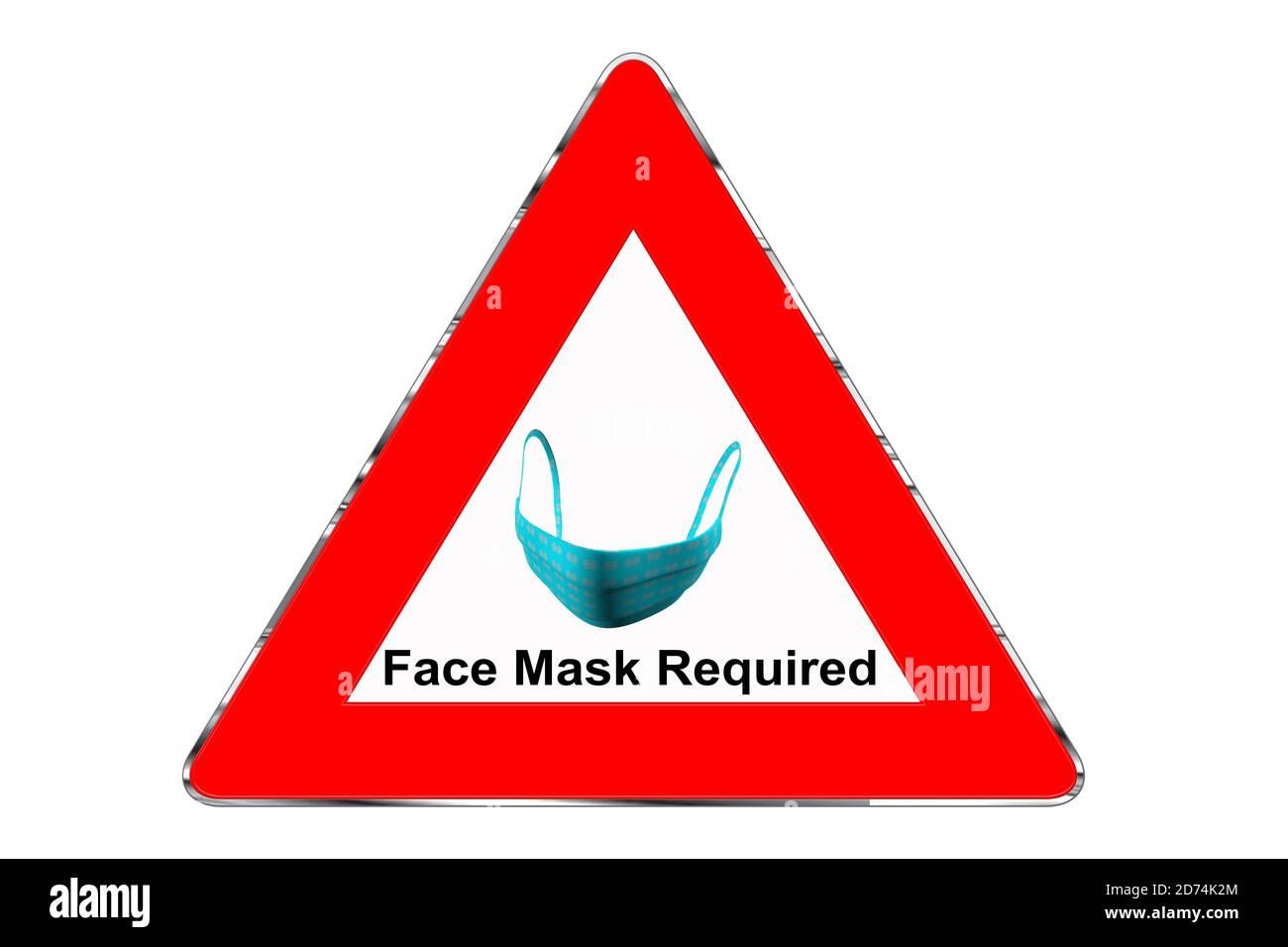 Warndreieck mit FFP2 Maske und Hinweis Maskenpflicht isoliert auf weißem Hintergrund Stock Photo
