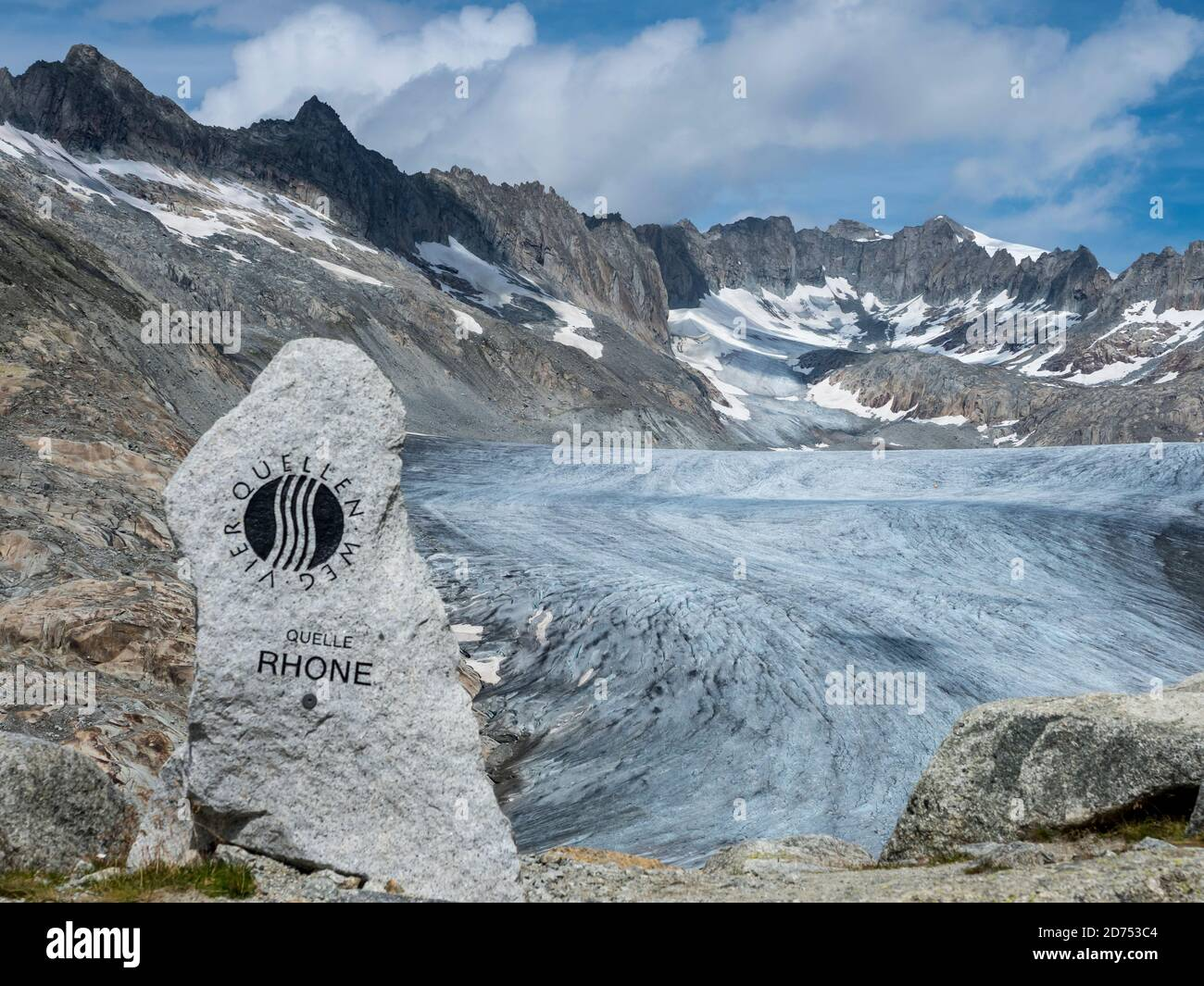 Monument above the Rhone glacier, to mark the source of the Rhone River, Switzerland. Stock Photo