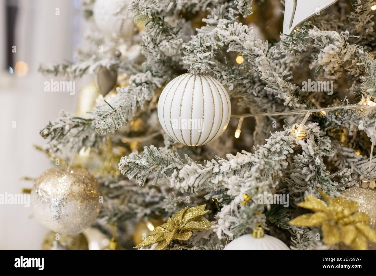 Christmas Tree With A White Baubles Luxury New Year Decor Beige White Golden Silver Christmas Tree Decoration Merry Christmas And Happy Holidays Stock Photo Alamy