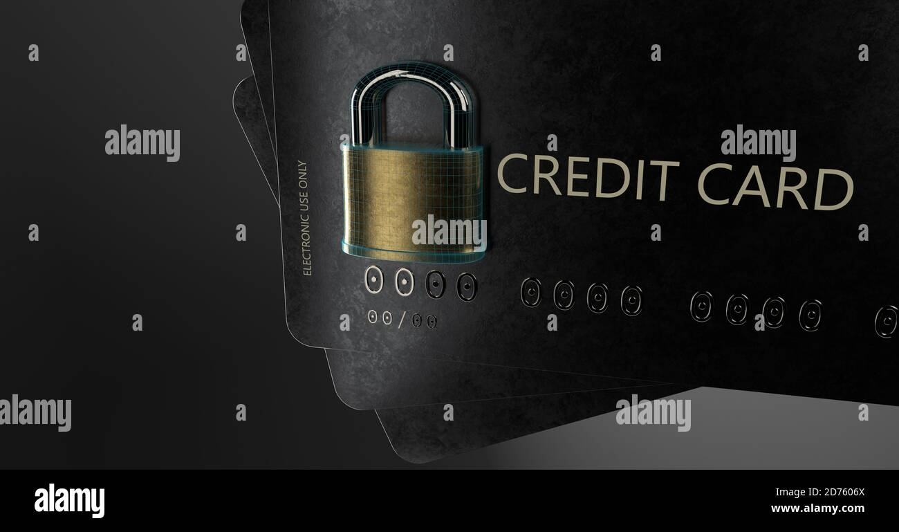 Credit Card Cyber Security, Protected, Secured. Online Data Security Stock Photo