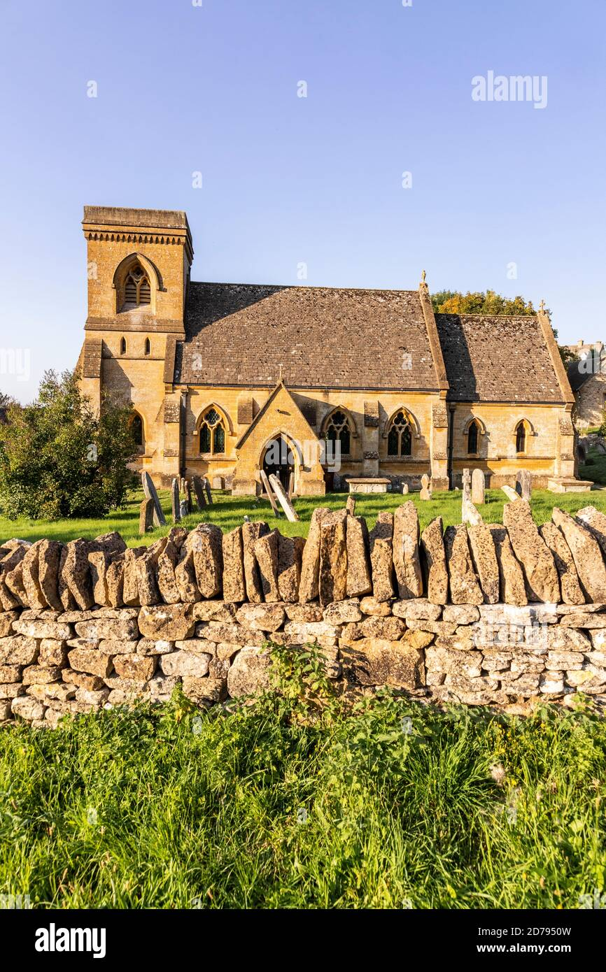 Evening light on St Barnabas church in the Cotswold village of Snowshill, Gloucestershire UK Stock Photo