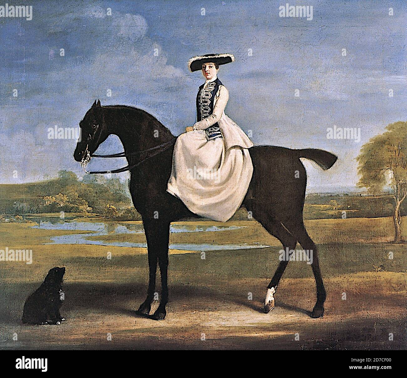 George Stubbs A Young Lady In White Mounted On A Dark Bay Horse Stock Photo Alamy