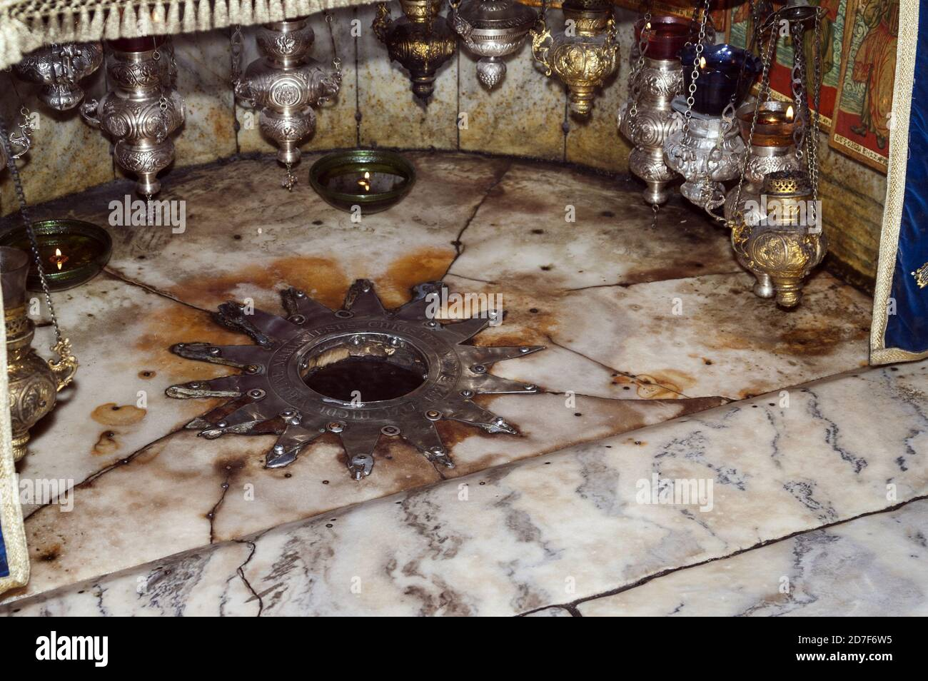 Bethlehem, בית לחם, Palestine, بيت لحم, Israel, Izrael, ישראל ,دولة فلسطين; Church of the Nativity Grotto of the Nativity; Basilica of the Nativity Stock Photo