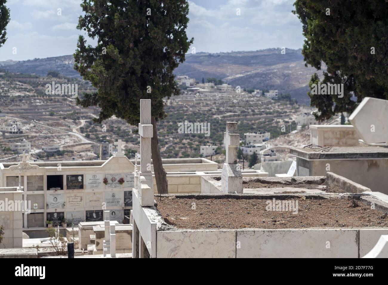 Bethlehem, בית לחם, Palestine, بيت لحم, Israel, Izrael, ישראל, Palestyna, دولة فلسطين; Christian cemetery. Cementerio cristiano. Christlicher Friedhof Stock Photo