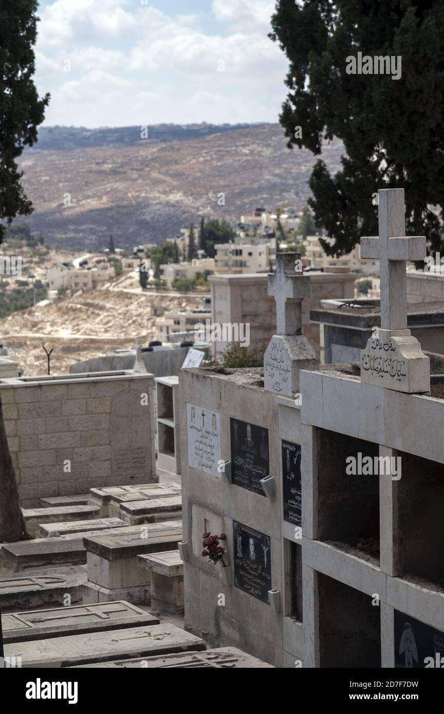 Bethlehem, בית לחם, Palestine, بيت لحم, Israel, Izrael, ישראל, Palestyna, دولة فلسطين; Christian cemetery. Cementerio cristiano. Christlicher Friedhof Stock Photo