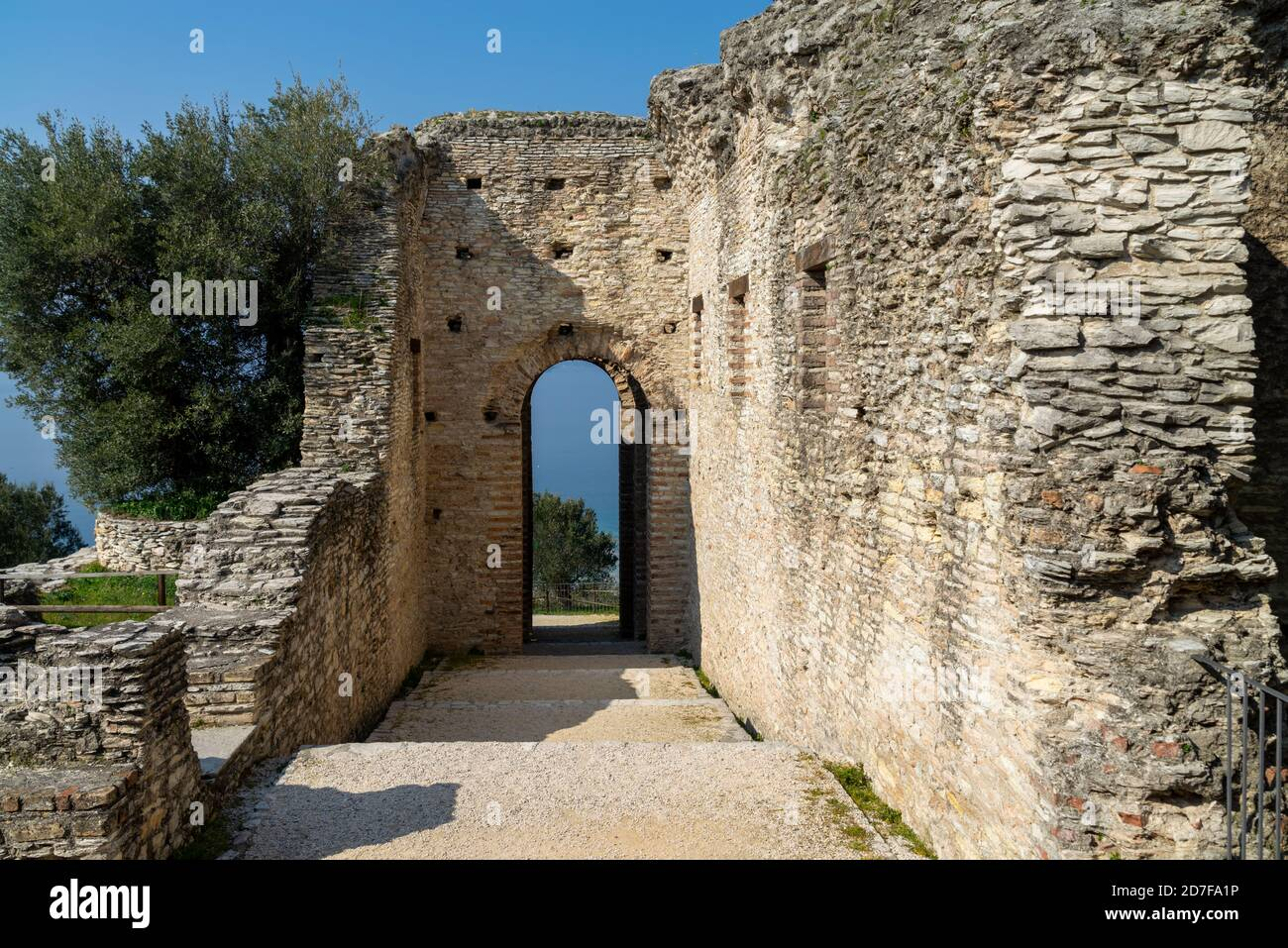 Roman ruins Grotte di Catullo or Grotto at Sirmione, Lake Garda, Northern Italy Stock Photo