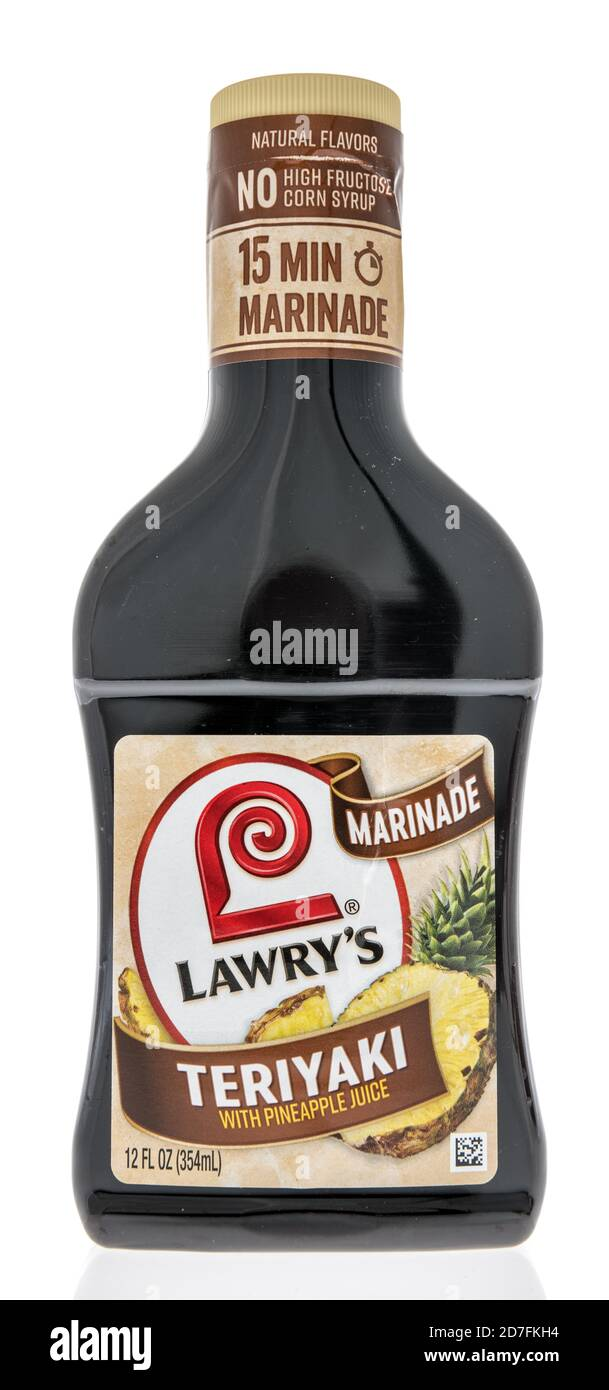 Winneconne, WI - 18 October 2020:  A bottle of Lowrys teriyaki marinade on an isolated background. Stock Photo