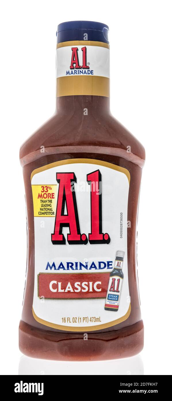 Winneconne, WI - 18 October 2020:  A bottle of A1 marinade on an isolated background. Stock Photo