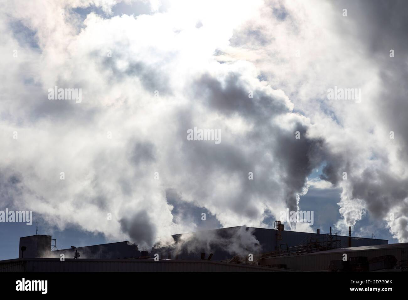Industry, stacks venting steam, E USA, by James D Coppinger/Dembinsky Photo Assoc Stock Photo