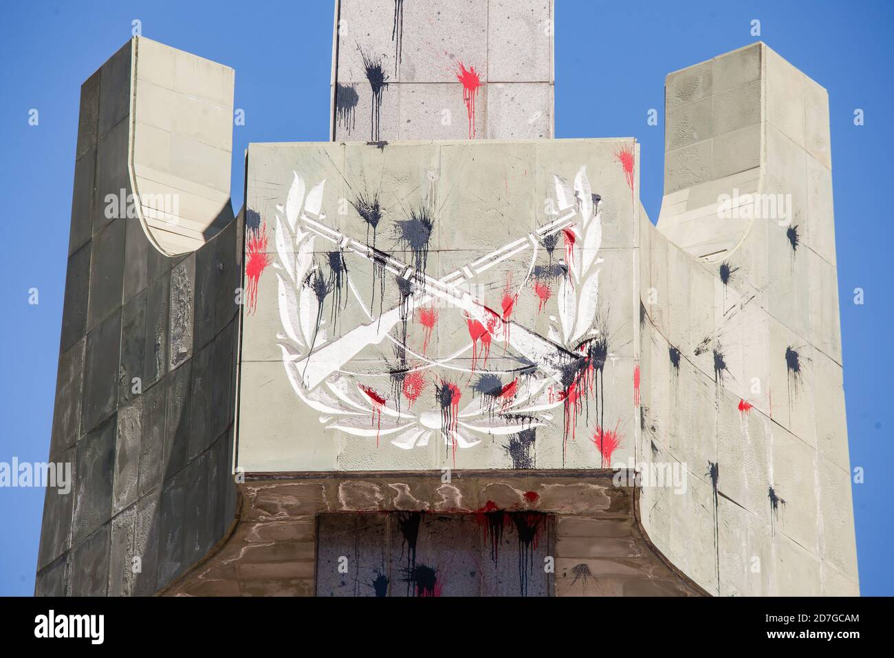 SANTIAGO, CHILE-OCTOBER 18, 2020 - Monument to the Martyrs of the Carabineros (Chilean Police) vandalized during a year of protests by the social outb Stock Photo