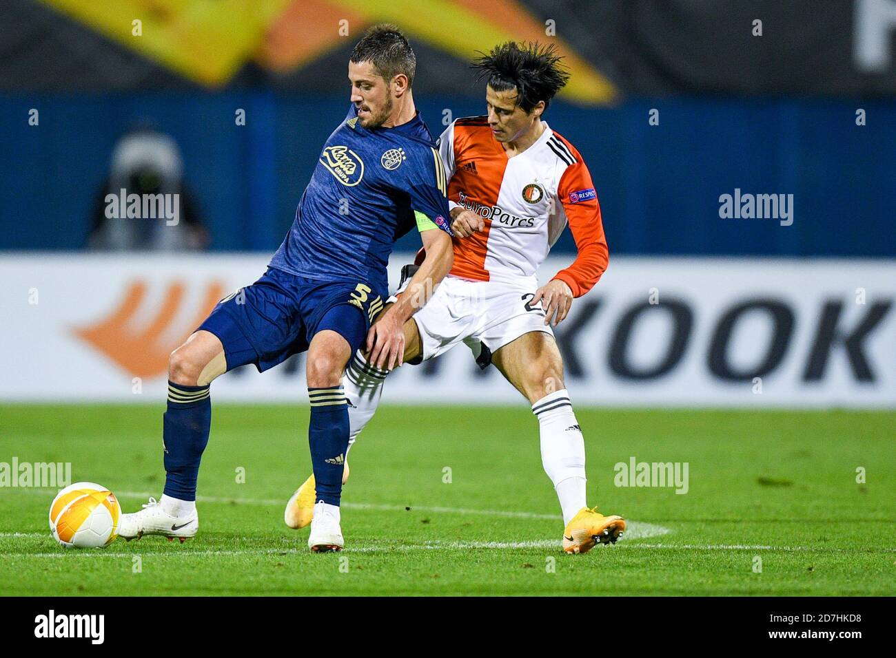 Zagreb Croatia October 22 Arijan Ademi Of Dinamo Zagreb Joao Teixeira Of Feyenoord During The Uefa Europa League Match Between Dinamo Zagrab And Stock Photo Alamy