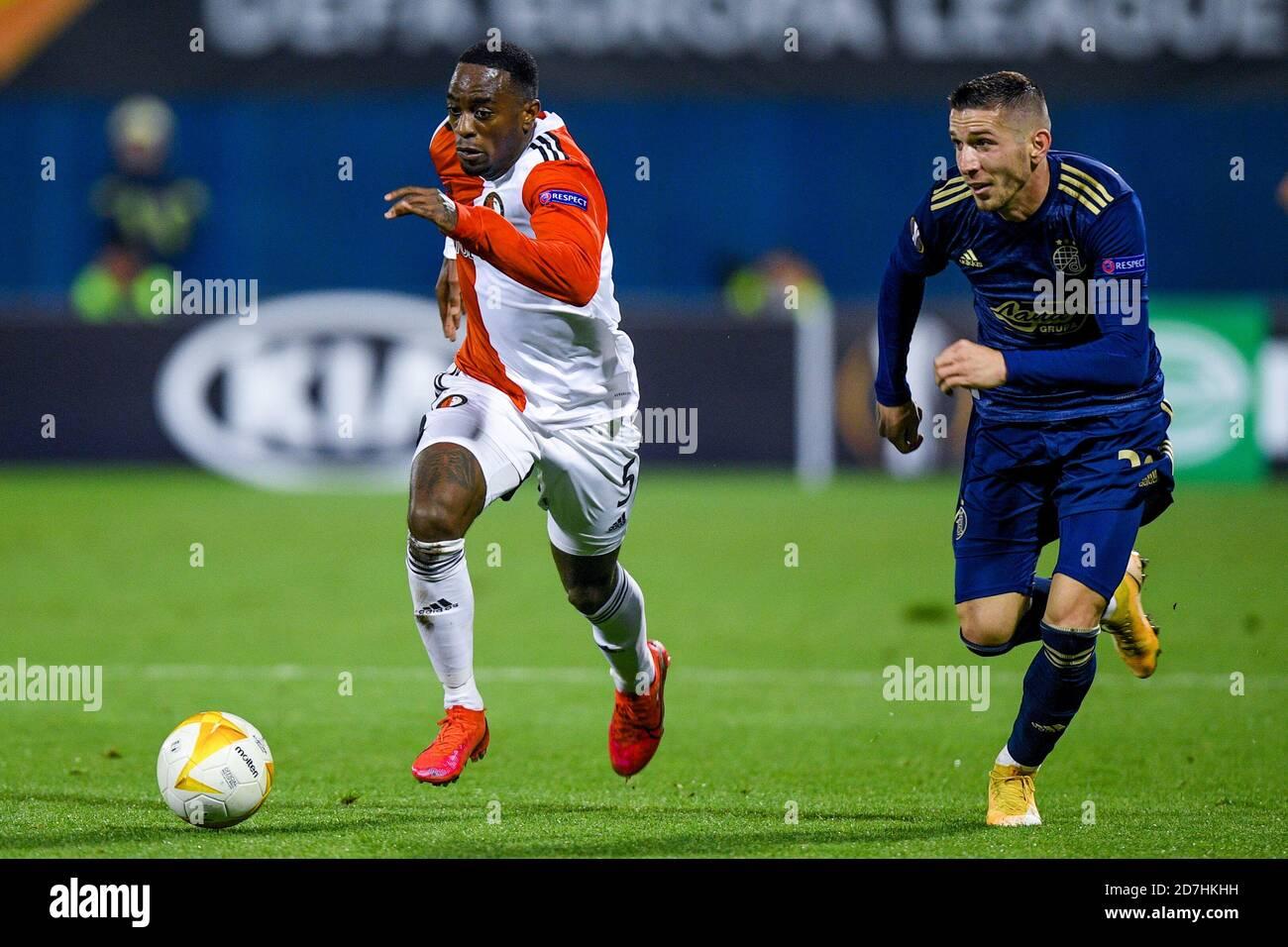 Zagreb Croatia October 22 Ridgeciano Haps Of Feyenoord Lirim Kastrati Of Dinamo Zagreb During The Uefa
