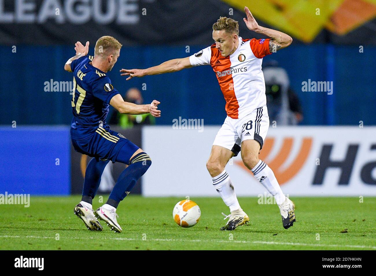 Zagreb Croatia October 22 Kristijan Jakic Of Dinamo Zagreb Jens Toornstra Of Feyenoord During The Uefa Europa League Match Between Dinamo Zagrab Stock Photo Alamy