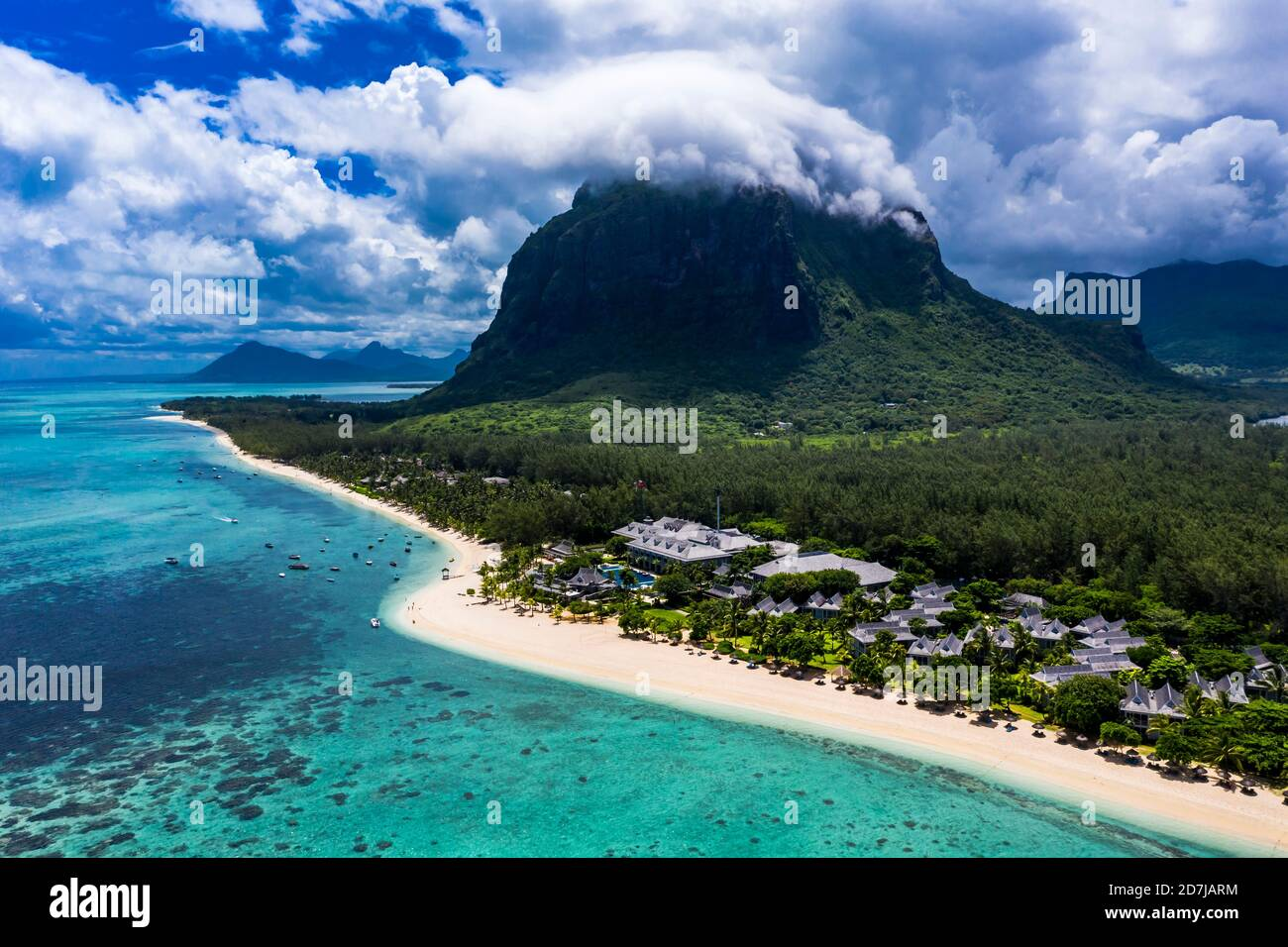 Mauritius, Helicopter view of beach and tourist resort on Le Morne Brabant peninsula in summer Stock Photo