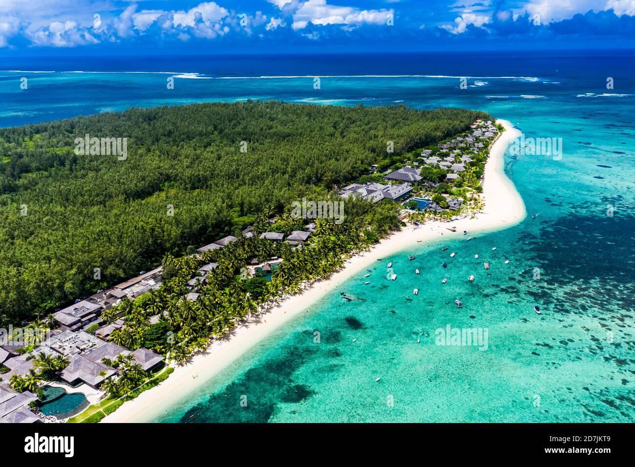 Mauritius, Helicopter view of beach and tourist resort on LeMorneBrabantpeninsula in summer Stock Photo