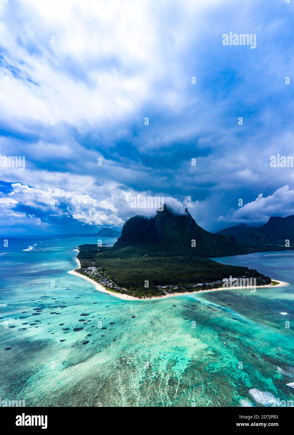 Mauritius, Helicopter view of clouds over LeMorneBrabantpeninsula in summer Stock Photo
