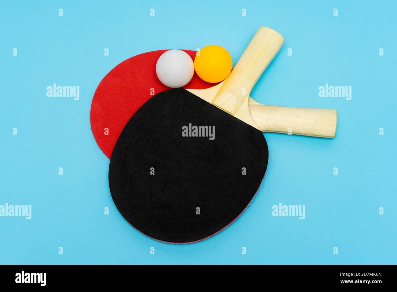 Table Tennis Ping Pong Set  Bats And Balls Set Stock Photo