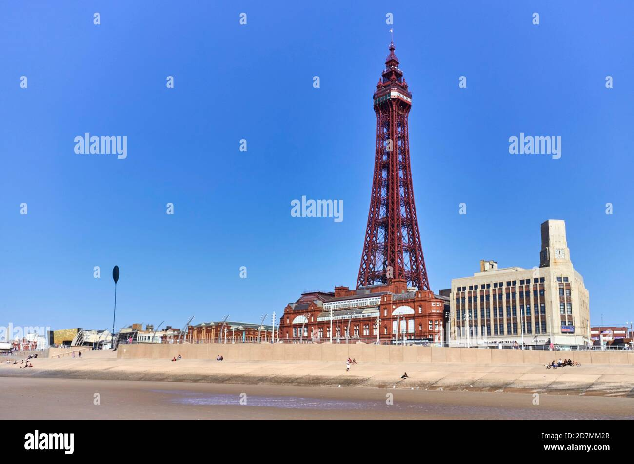 Blackpool tower viewed from the beach Stock Photo