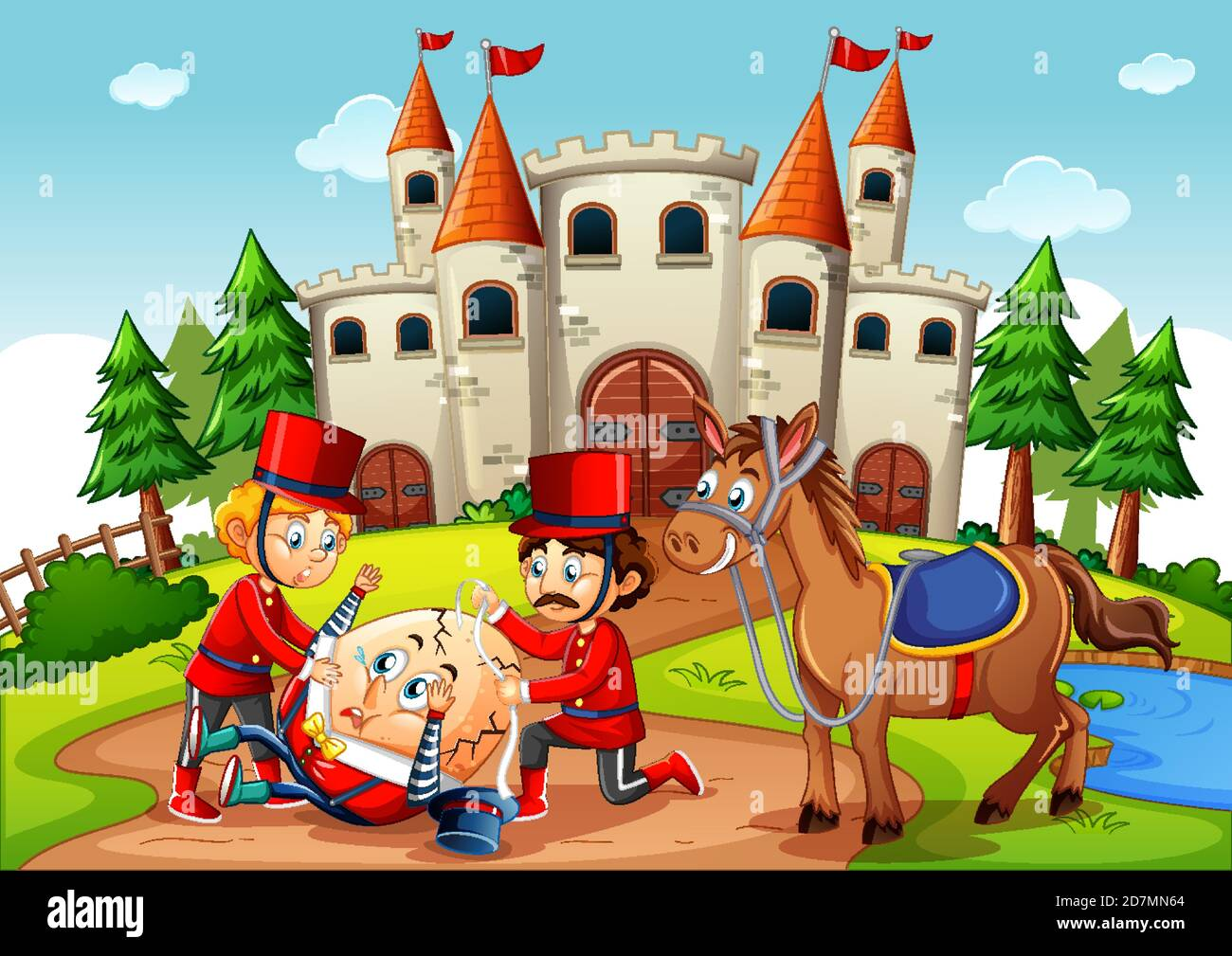Fairytale scene with humpty dumpty egg and soldier royal guard scene illustration Stock Vector