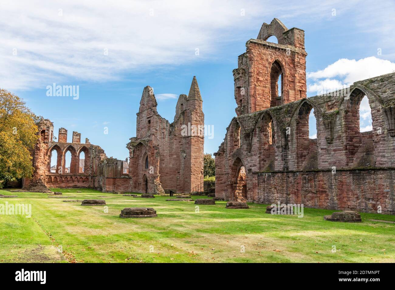 Arbroath Abbey, in the Scottish town of Arbroath, was founded in 1178 by King William the Lion for a group of Tironensian Benedictine monks from Kelso Stock Photo
