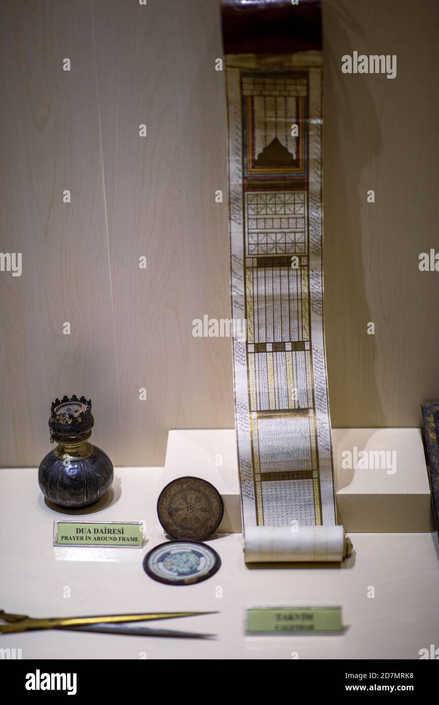 Ankara, Turkey; 08 October 2020: Manuscript Small Islamic Calendar and praying facility from the Ottoman era Stock Photo