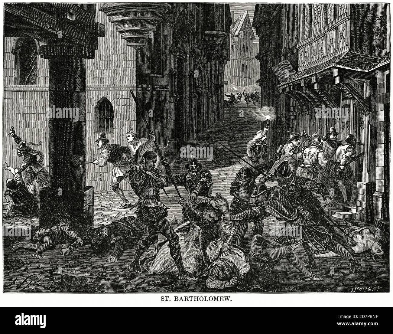 St. Bartholomew St. Bartholomew's Day massacre), Illustration, Ridpath's History of the World, Volume III, by John Clark Ridpath, LL. D., Merrill & Baker Publishers, New York, 1897 Stock Photo