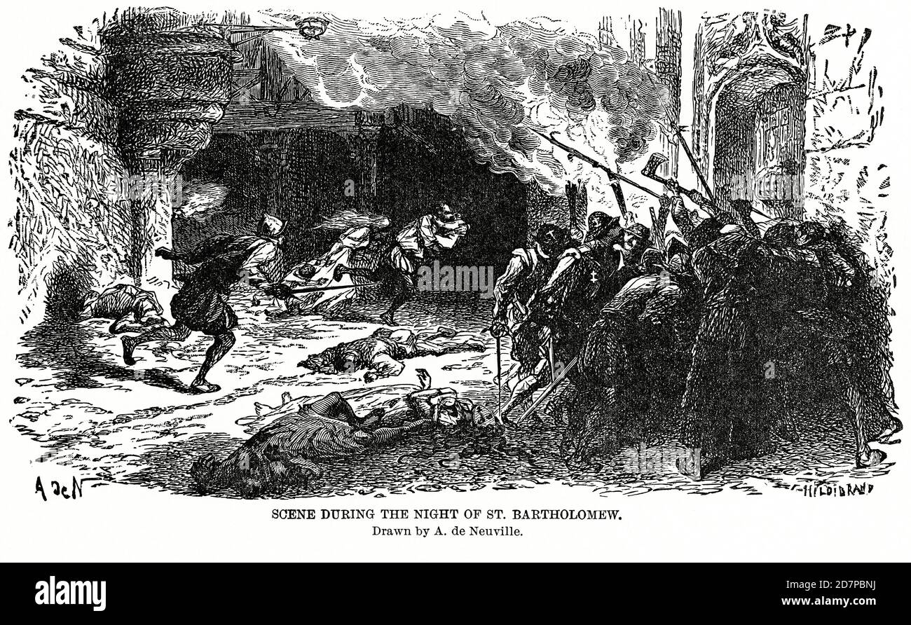 Scene during the Night of St. Bartholomew, drawn by A. de Neuville, Illustration, Ridpath's History of the World, Volume III, by John Clark Ridpath, LL. D., Merrill & Baker Publishers, New York, 1897 Stock Photo