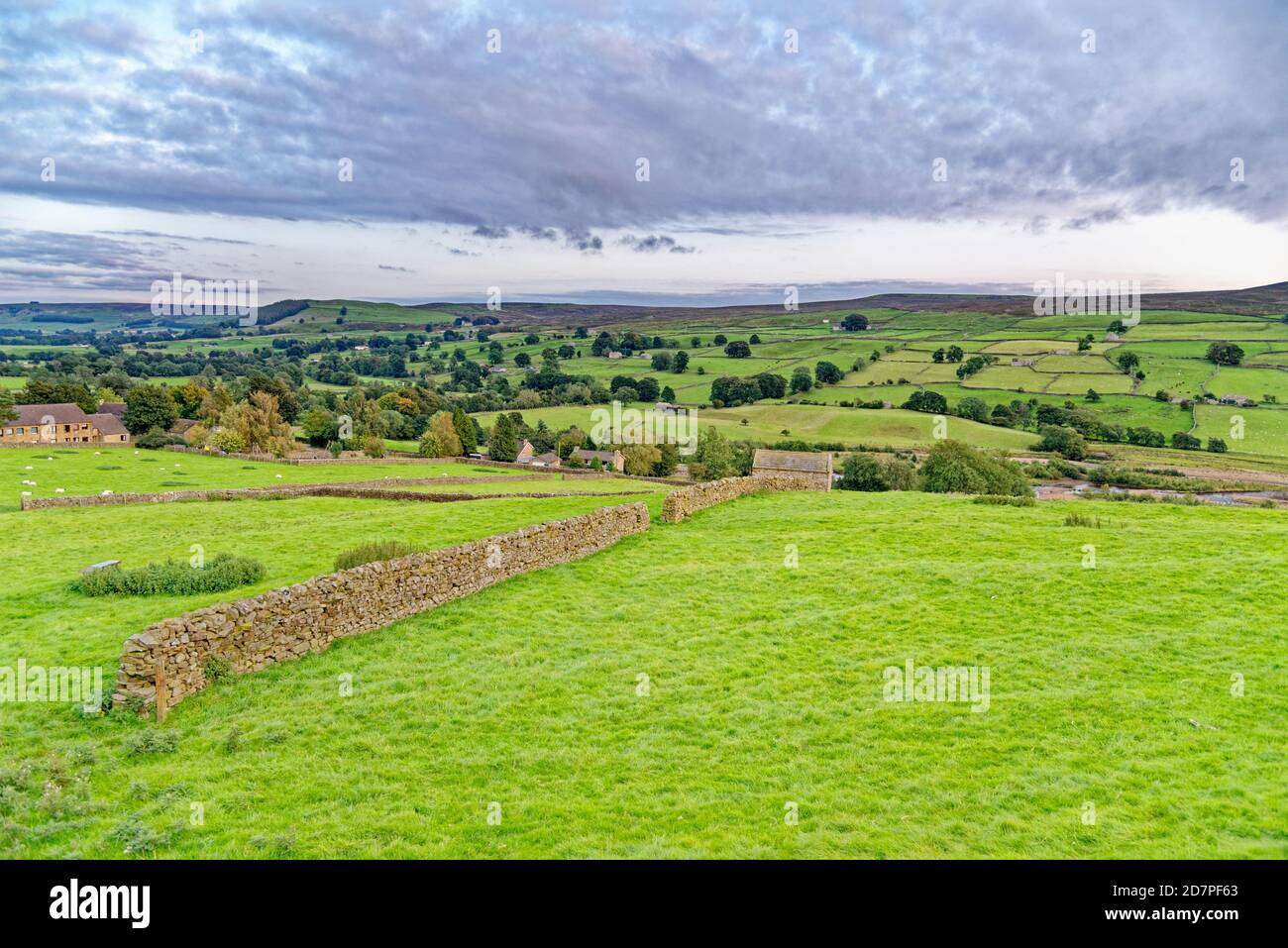 Autumn afternoon view on The Pennine Way, Yorkshire Dales National Park, North Yorkshire, England, United Kingdom Stock Photo
