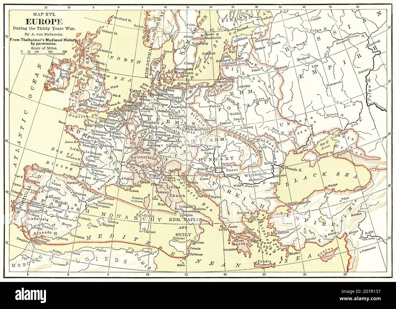 Map XVI, Europe, during the Thirty Years War, by A. von Steinwehr, from Thalheimer's Medieval History by Permission, Illustration, Ridpath's History of the World, Volume III, by John Clark Ridpath, LL. D., Merrill & Baker Publishers, New York, 1897 Stock Photo