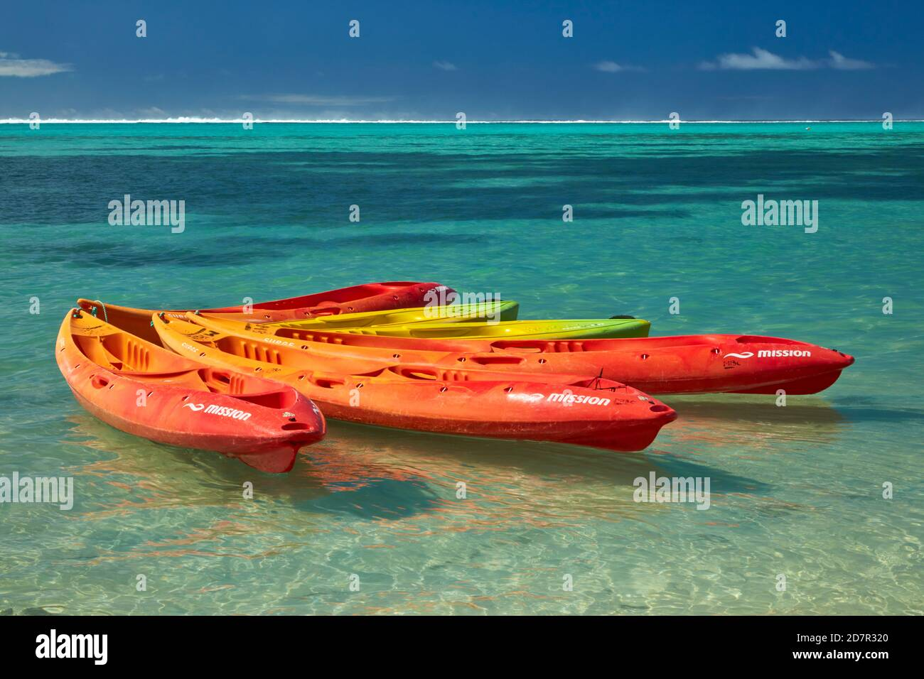 Kayaks, Muri Lagoon, Rarotonga, Cook Islands, South Pacific Stock Photo