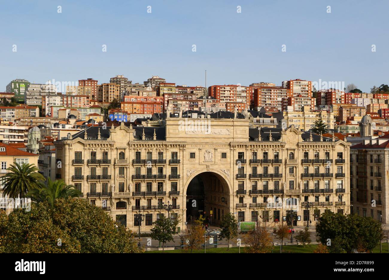 The original old headquarters of Banco de Santander on the main street Paseo de Pereda in Santander Cantabria Spain from the Centro Botin Art Centre Stock Photo