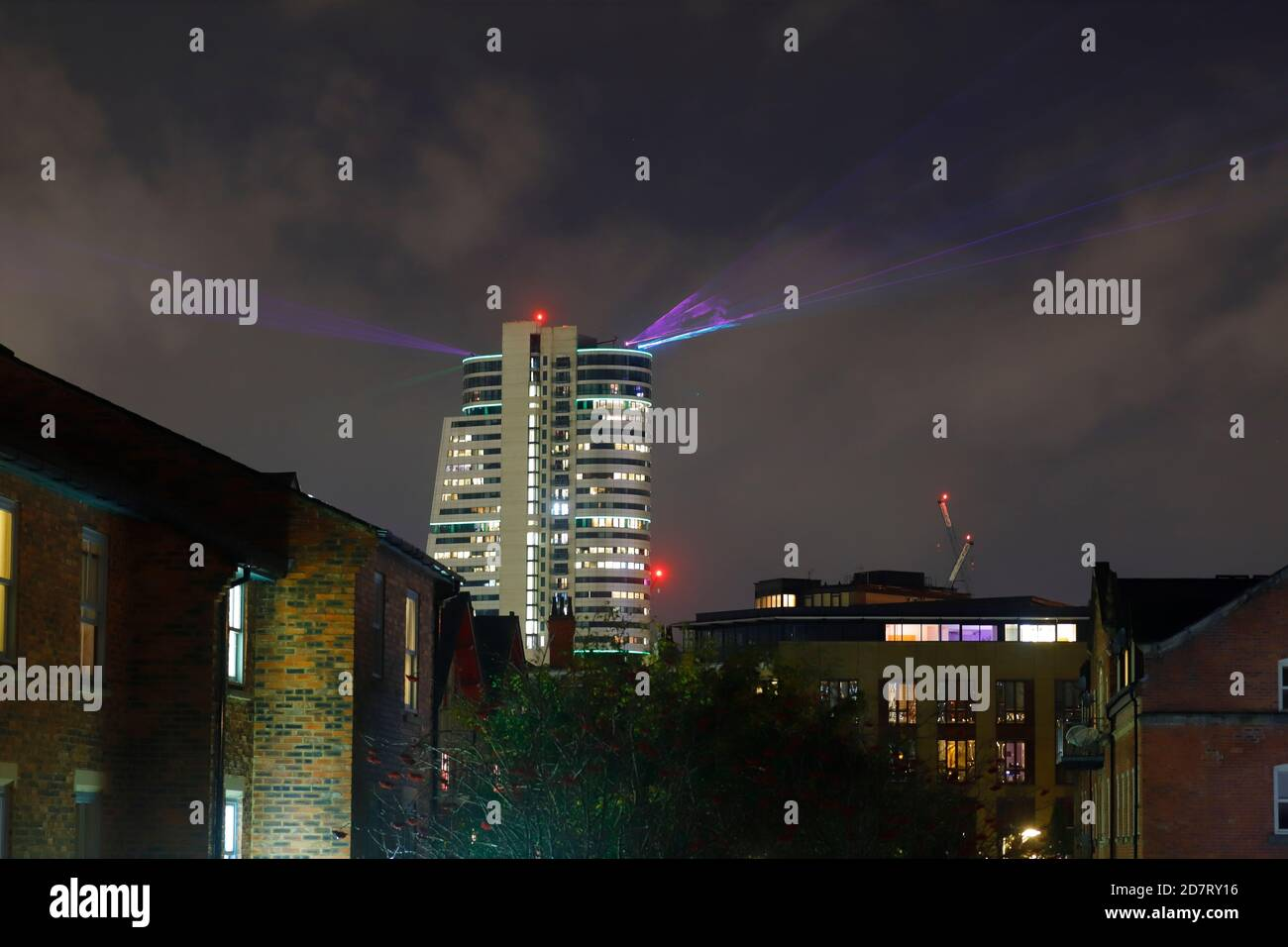 Interactive laser show in the skies above Leeds City during Laser Light City event. Stock Photo