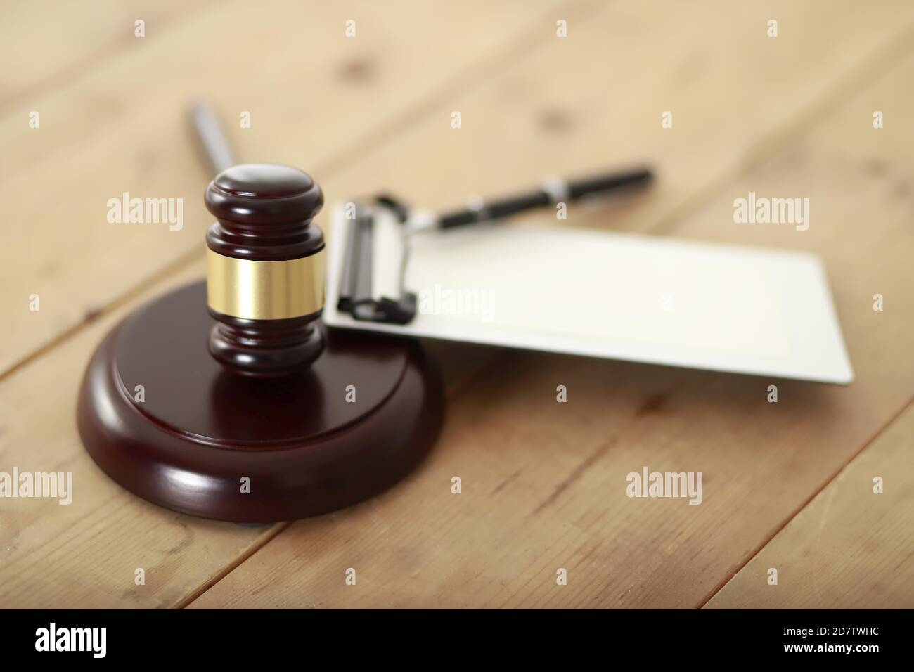Gavel with blank clipboard.Law and legal concept Stock Photo