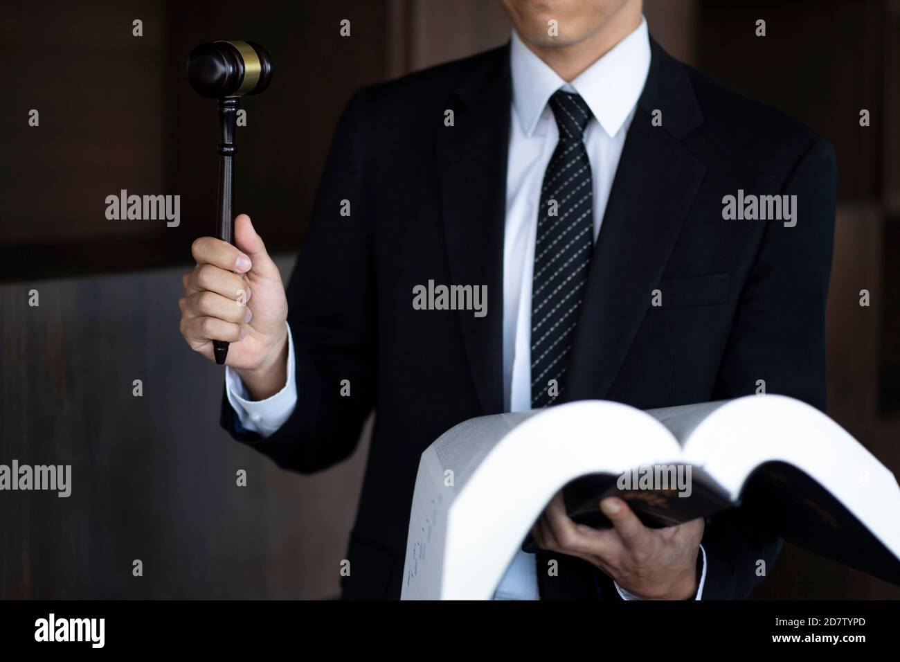 Lawyer holding gavel and law book Stock Photo