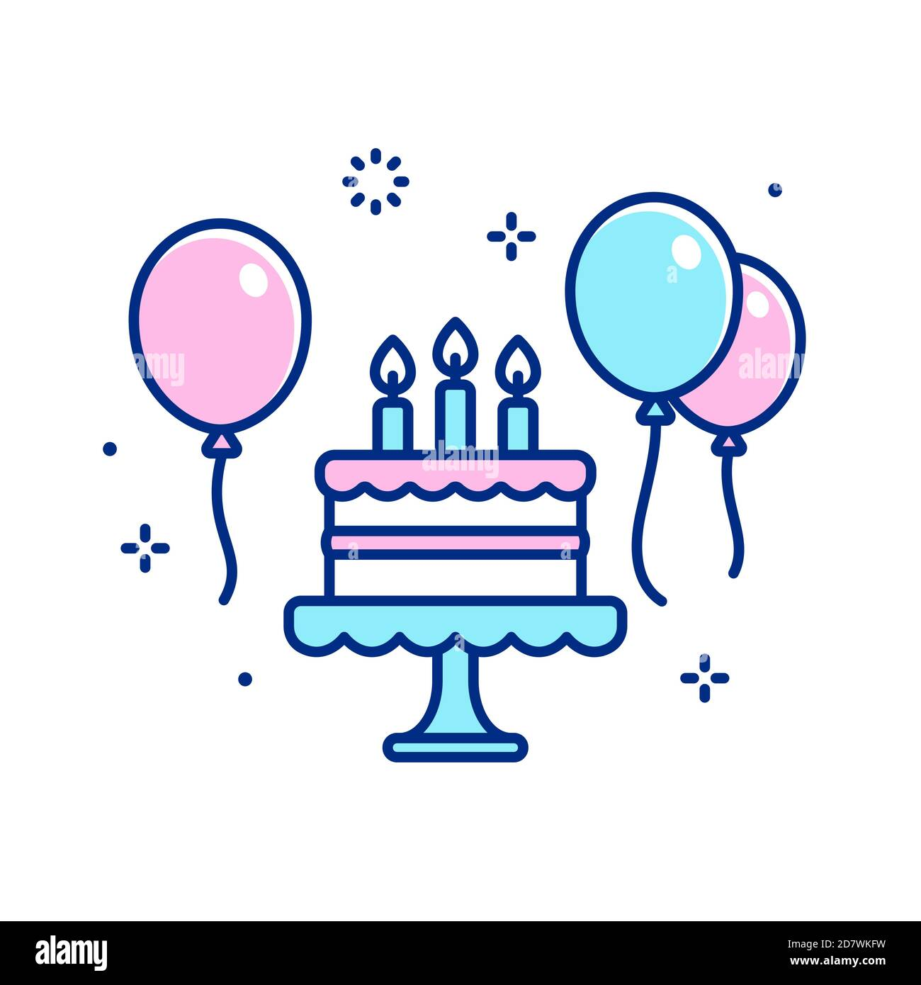Cartoon Birthday Cake With Candles And Balloons Simple Flat Style Icon Happy Birthday Greeting Card Party Celebration Isolated Vector Clip Art Ill Stock Vector Image Art Alamy