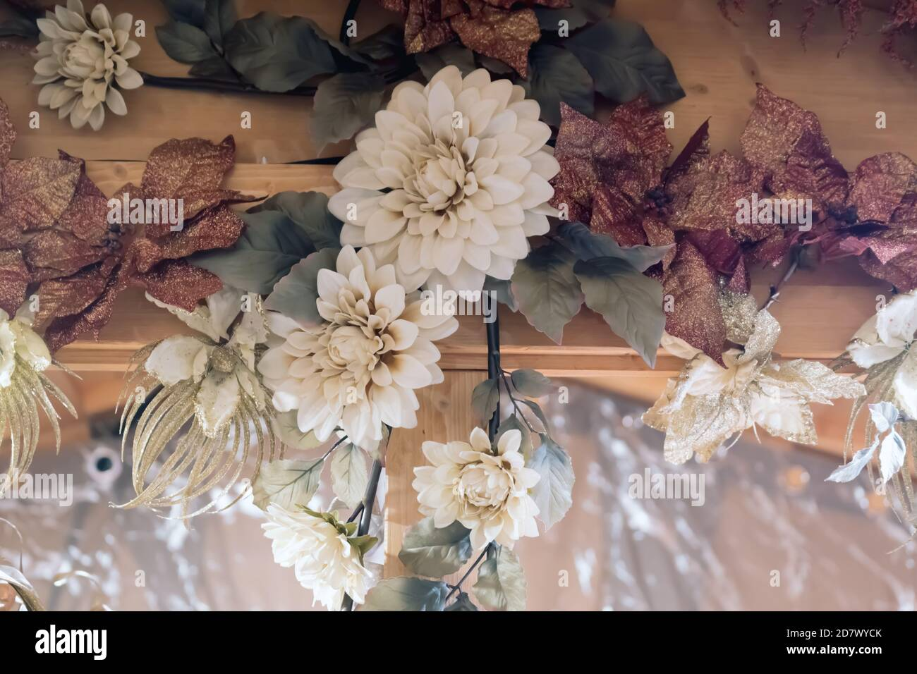 Christmas Decorations Artificial Flowers On Blurred Background Selective Focus Stock Photo Alamy