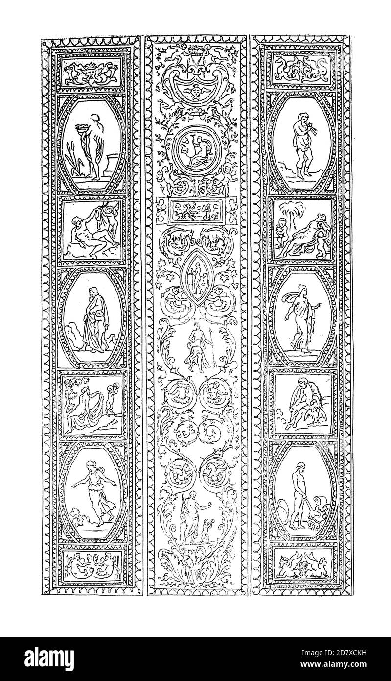 Antique engraving depicting arabesque pattern by Raphael at the Apostolic Palace, Vatican City, Rome, Italy. Illustration published in Systematischer Stock Photo