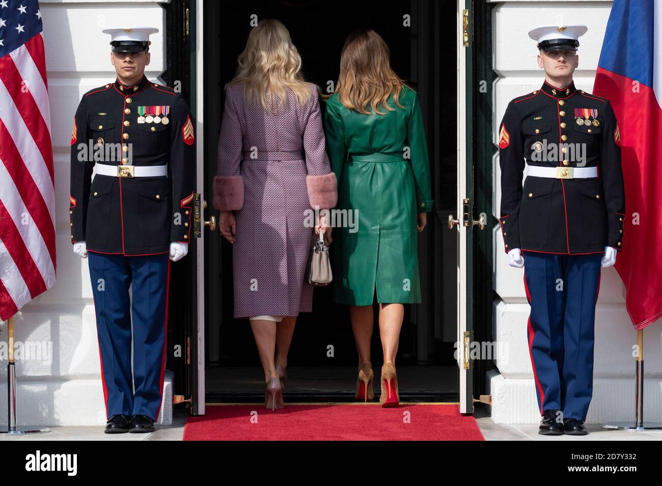 First Lady Melania Trump and the wife of the Prime Minister of the Czech Republic Monika Babišová enter the White House in Washington, D.C. on March 7, 2019. Credit: Alex Edelman/The Photo Access Stock Photo