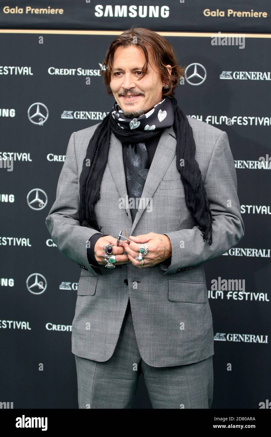 Johnny Depp attending the 'Crock of Gold: A few Rounds with Shane McGowan' premiere during the 16th Zurich Film Festival at Kino Corso on October 02, 2020 in Zurich, Switzerland. Stock Photo