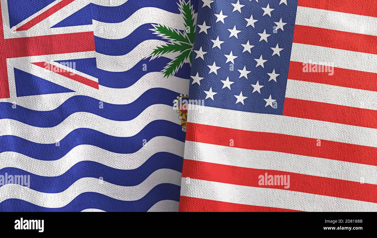 United States and British Indian Territory two flags textile cloth 3D rendering Stock Photo