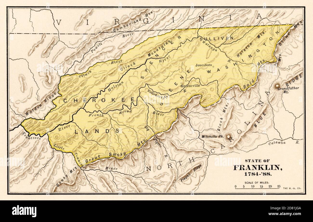 State of Franklin, 1784-1788, an unrecognized territory of eastern Tennessee. Color lithograph Stock Photo