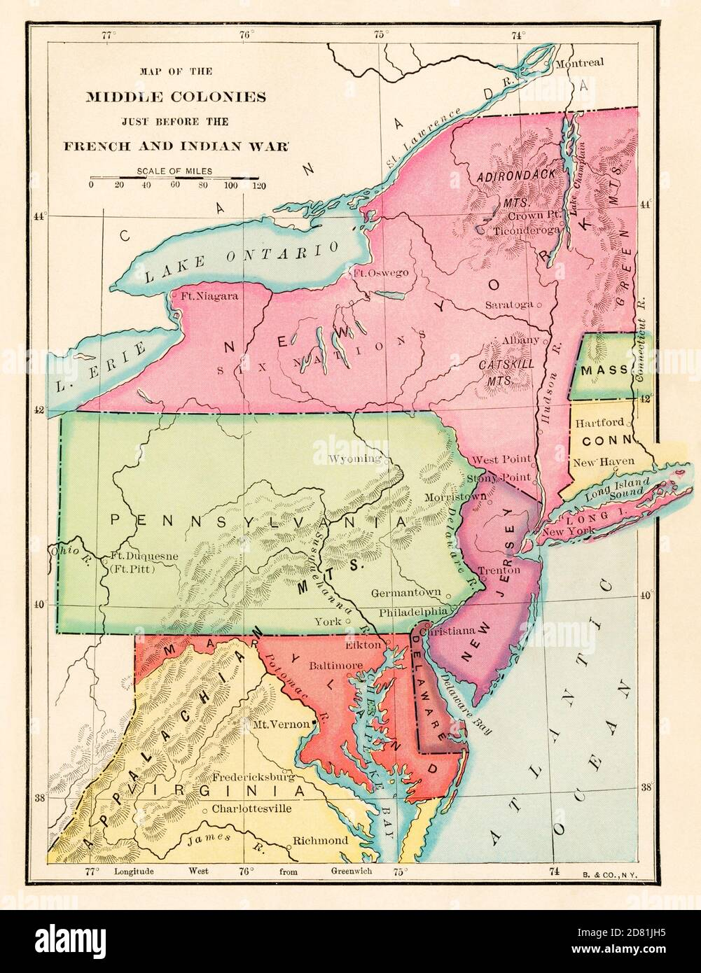 Middle colonies just before the French & Indian War, 1750s. Color halftone Stock Photo