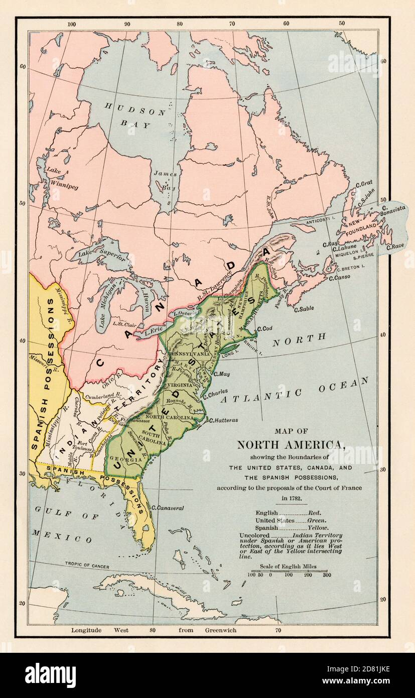 French proposal of North American Territorial boundaries in 1782. Color halftone Stock Photo