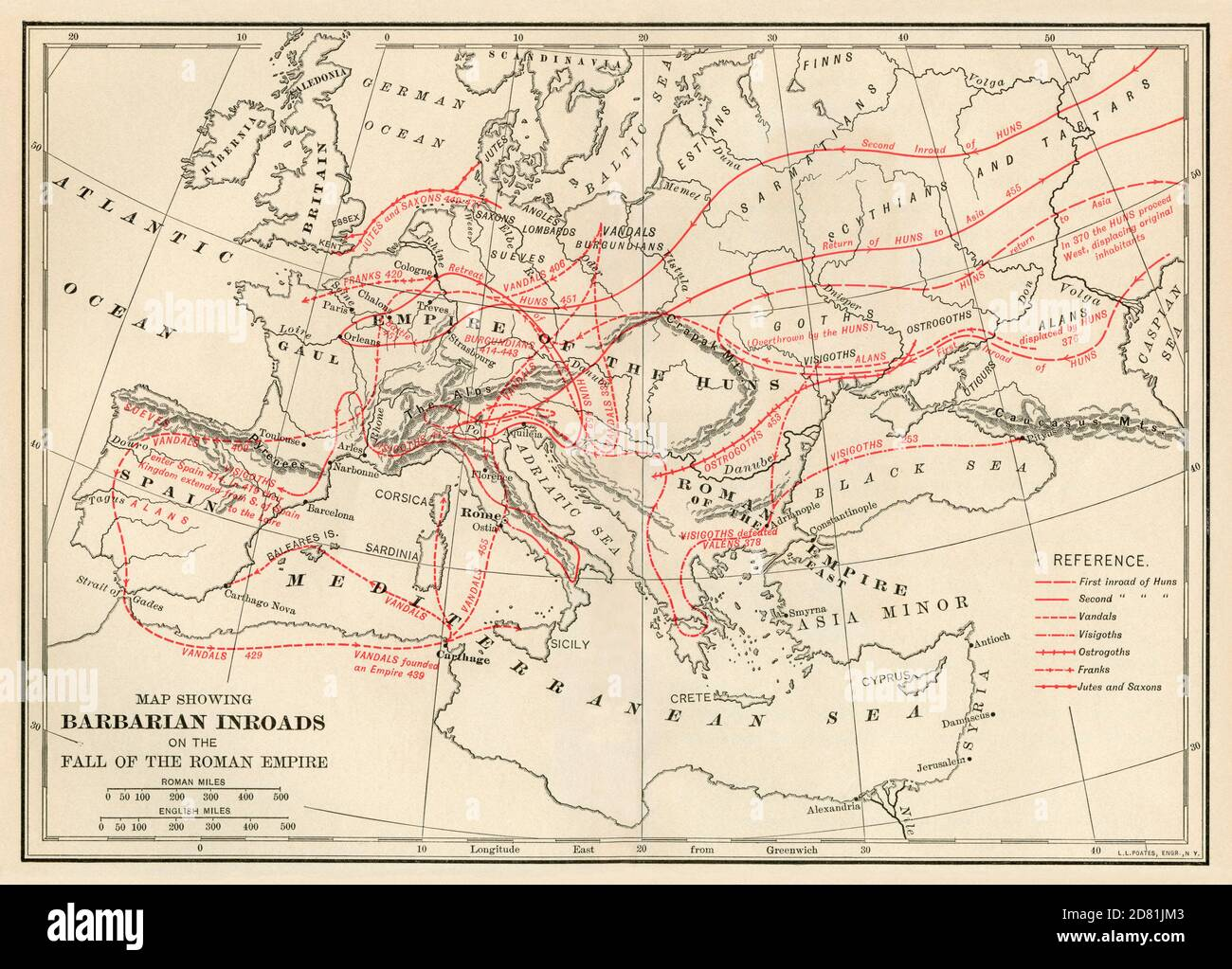 Map of Barbarian routes into the Roman Empire. Color lithograph Stock Photo