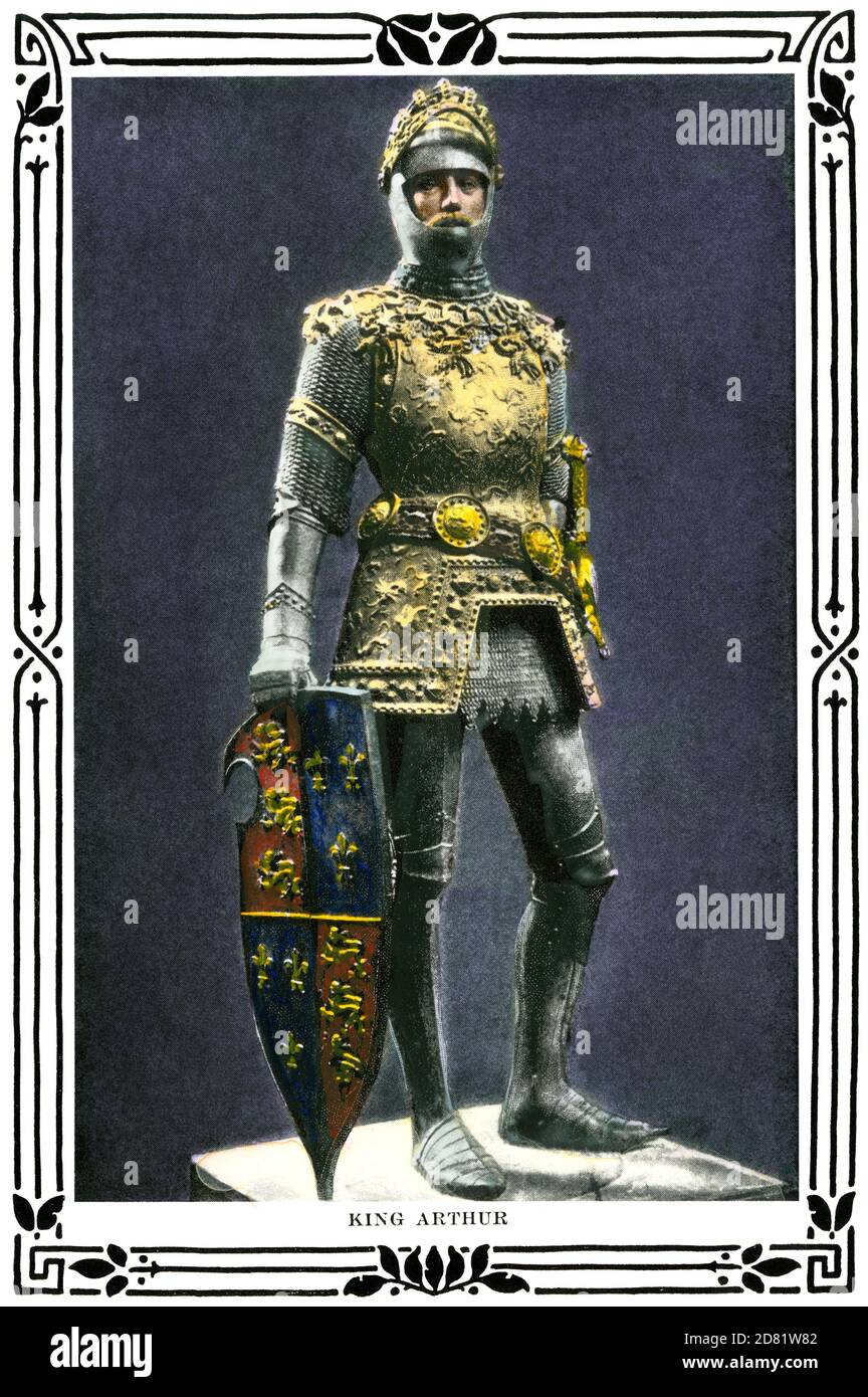 King Arthur. Hand-colored halftone of an illustration Stock Photo