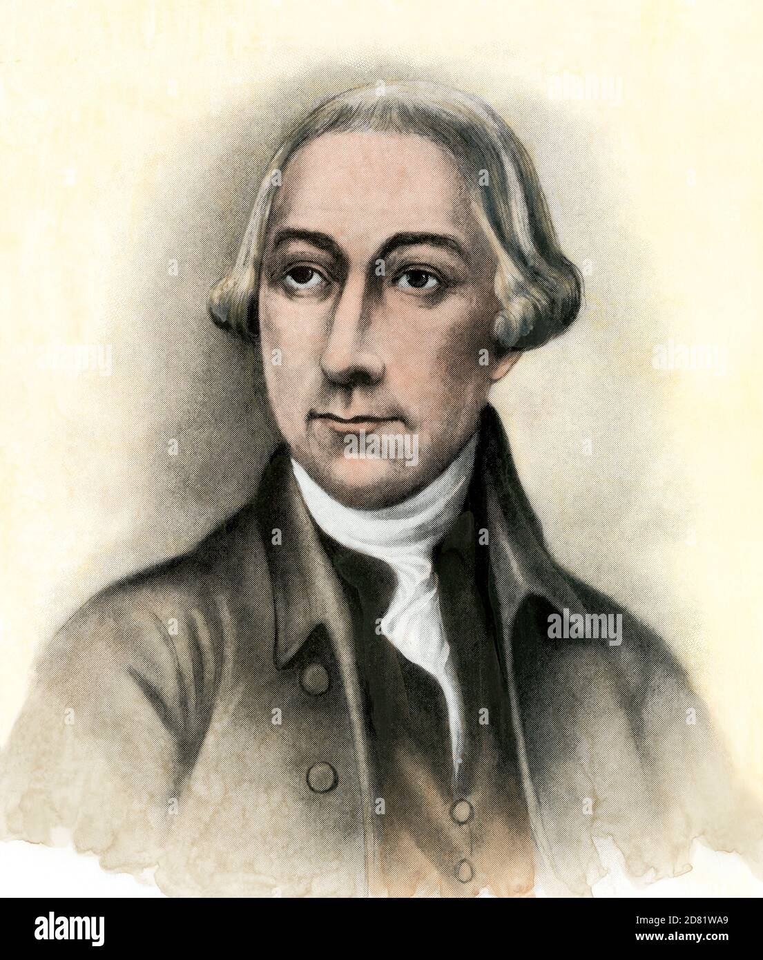 Joseph Hewes, signer of the Declaration of Independence. Hand-colored halftone Stock Photo