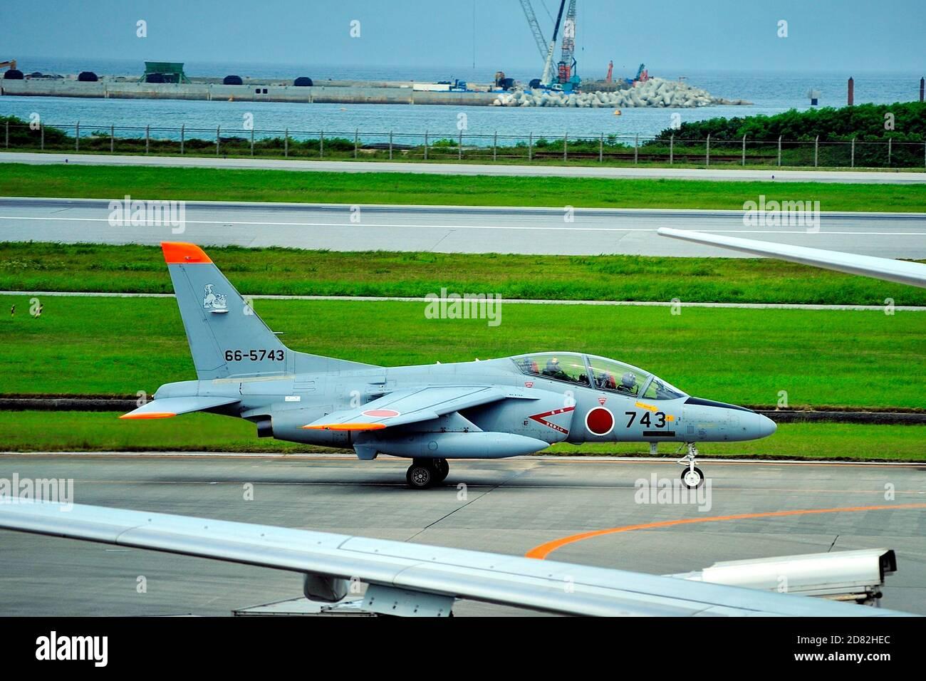 JAF,  Kawasaki T-4 Trainning Jet, 66-5743, Naha Airport, Okinawa, Japan Stock Photo