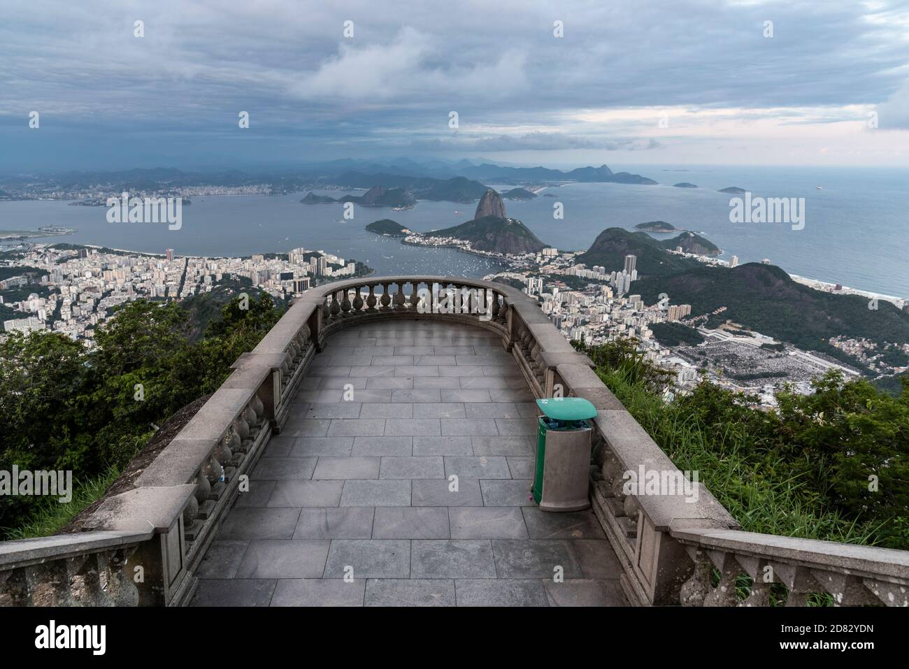 Beautiful view from empty Christ the Redeemer Statue viewpoint to city, Tijuca Forest, Rio de Janeiro, Brazil Stock Photo