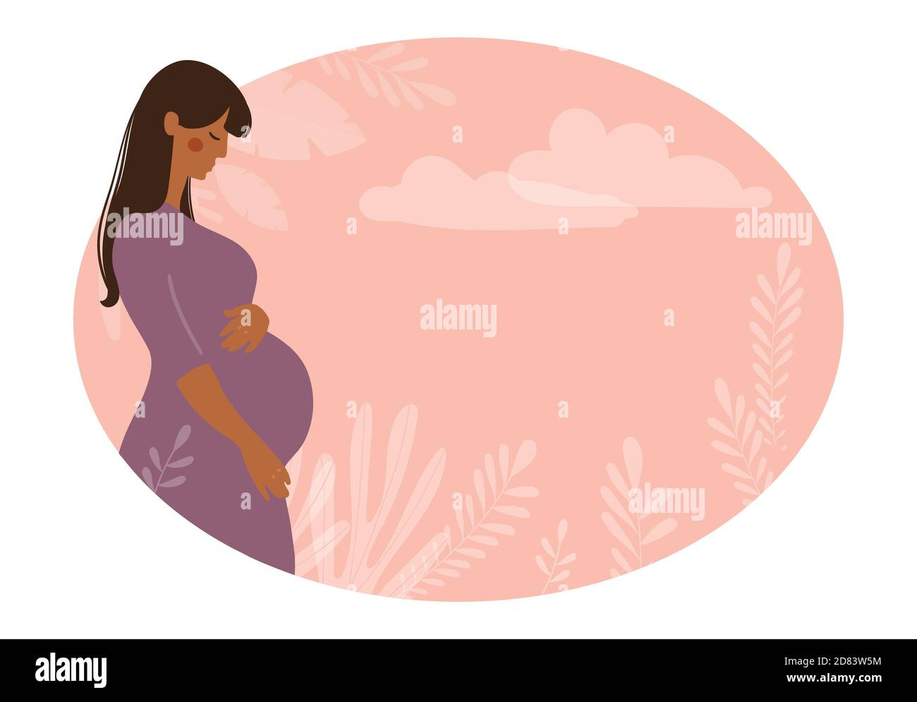 Modern banner about pregnancy and motherhood. Poster with a beautiful young pregnant woman with long hair and place for text. Minimalistic design, flat cartoon vector illustration Stock Vector
